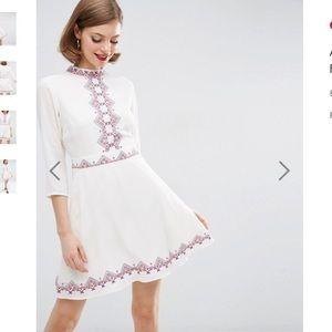 *NEW* ASOS Embroidered Folk Skater Dress